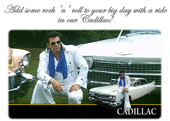 Cadillac and Elvis lookalike chauffeur for hire in Wigan and Lancashire